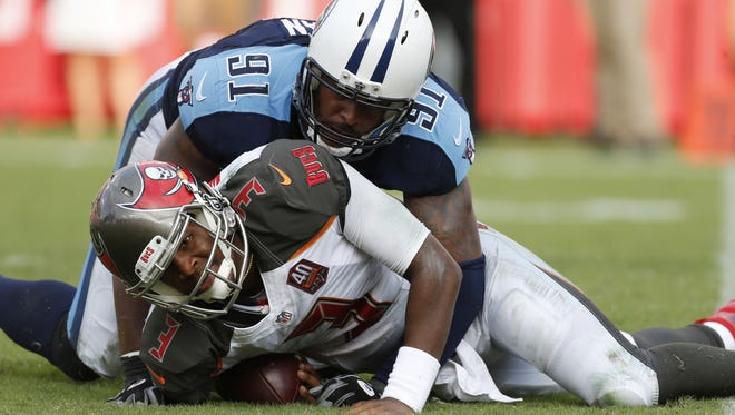 Tampa Bay Buccaneers quarterback Jameis Winston (3) is sacked by Tennessee Titans outside linebacker Derrick Morgan (91) on Sept. 13.