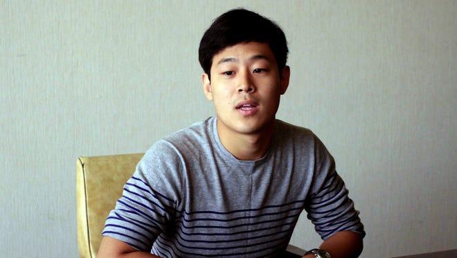 Won Moon Joo, a South Korean student at New York University, is interviewed at the Koryo Hotel in Pyongyang, North Korea Tuesday, July 14, 2015.