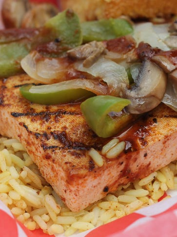 The Smoked BBQ Tofu,  smothered with sautéed peppers,