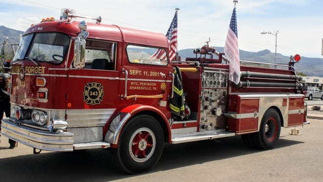 The 9/11 fire truck on display at last year's ceremony was created by firefighters to honor the fallen from that fateful day Sept. 11, 2001. This includes the EMS, fire, police and many civilians and those still falling.