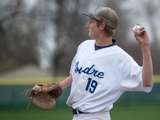 Poudre first baseman Chris Mohr throws the ball back to the pitcher during a game against Legacy at Poudre High School in Fort Collins Saturday, April 19, 2014.