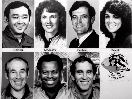 The space shuttle Challenger exploded moments after liftoff from Kennedy Space Center in Florida January 28 1986 killing all seven crew members.  At top from left to right are: Air Force Lt. Col. Ellison S. Onizuka teacher Christa McAuliffe Francis R. Scobee and Judy Resnik.  In bottom row from left are Gregory Jarvis Ronald E. McNair and Mike Smith. Fifteen years after Challenger disintegrated in the sky NASA is considering a variety of escape systems--ejection seats flyaway capsules-- that could save the crew in another space shuttle accident.(AP Photo/NASA File)