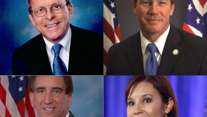 Clockwise from upper left: Mike DeWine, Jon Husted, Mary Taylor, Jim Renacci