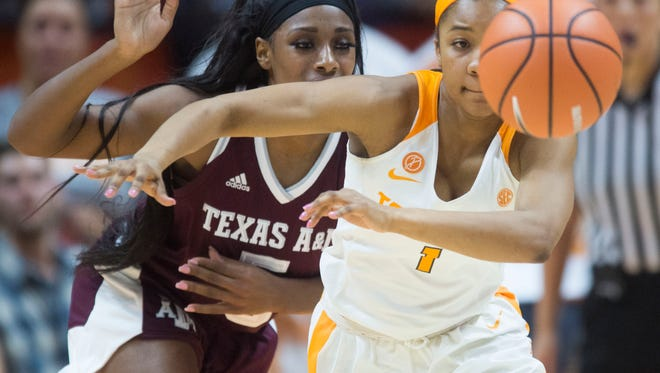 Tennessee's Anastasia Hayes steals the ball from Texas A&M's Anriel Howard on Thursday, February 1, 2018.