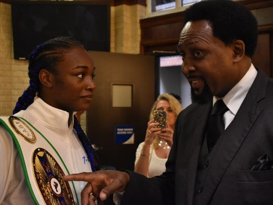 Flint's Claressa Shields with renowned boxer Thomas Hearns during a weigh-in on Thursday, June 15, 2017. Shields will take on  Sydney LeBlanc  at Detroit's Masonic Temple on Friday.
