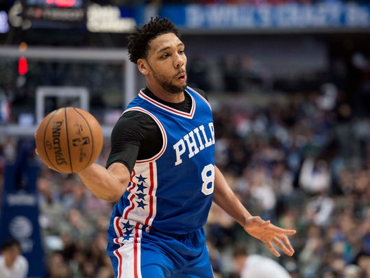 Philadelphia 76ers center Jahlil Okafor (8) passes the ball during the second half against the Dallas Mavericks at the American Airlines Center.