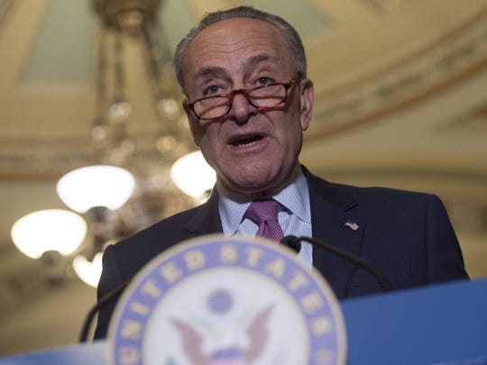 Senate Minority Leader Chuck Schumer, D-N.Y., speaks about the Senate Republican's healthcare bill at the US Capitol in Washington, DC, June 27, 2017.