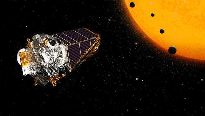 An artistic rendering of NASA's Kepler Space Telescope discovering planets outside our solar system.