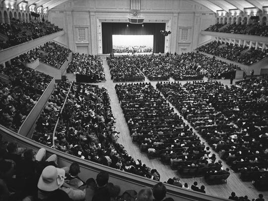 More than 6,000 people fill the Milwaukee Auditorium (now the Miller High Life Theatre) for a freedom rally that included a speech by Martin Luther King Jr. on Jan. 27, 1964. This photo was published in the Jan. 27, 1964, Milwaukee Journal.