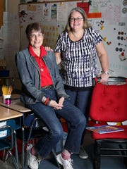 Patty-Jo Smith Kegler, a first-grade teacher at Primrose School, and her mother Doris-Jane Smith, a permanent substitute at the school are photographed in Smith Kegler's room April 25, 2018 in Somers. The two often work in the same classroom together. The rocking chair belonged to Smith's mother, who also was a teacher.