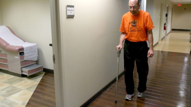Buddy Cordato taking his first steps at the North Jersey Brain and Spine Center in Oradell after getting his brain stimulator turned on.