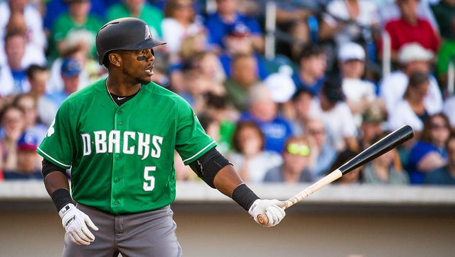 Rickie Weeks, jr.,  of the Arizona Diamondbacks, comes to bat in the second inning at Sloan Park in Mesa, Thursday, March 17, 2016.