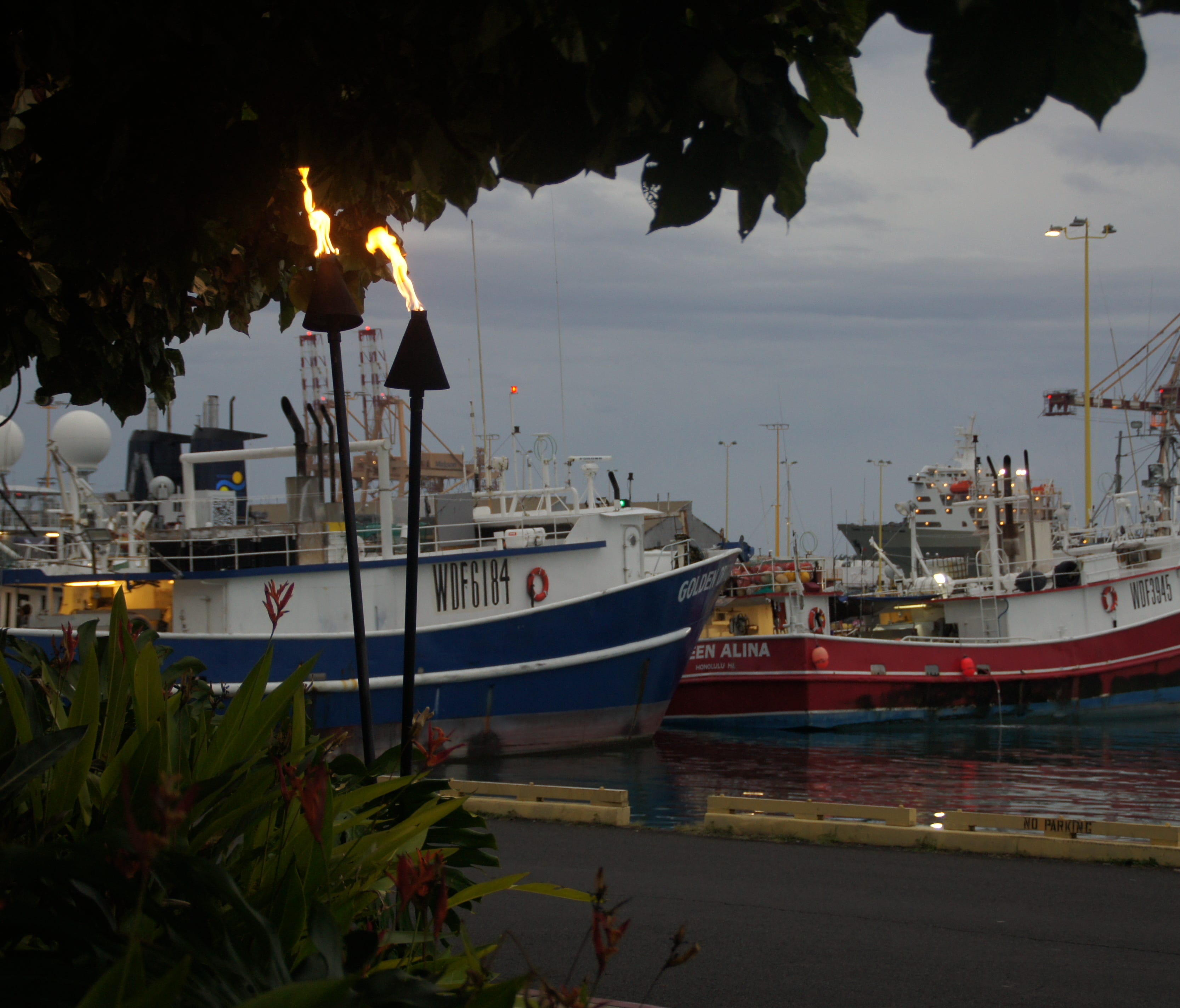 Harborside dining at Nico's offers a view of the boats that may have brought in fish you're eating.