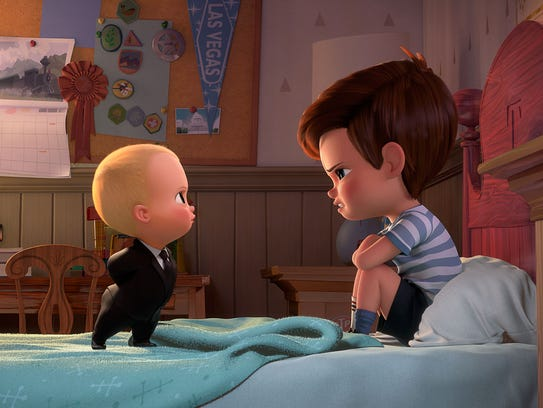 Boss Baby (voiced by Alec Baldwin) tries to convince