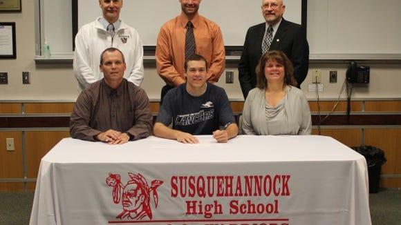 Sammy Miller signed his letter of intent to play baseball at Longwood University in Virginia. Pictured in front row, from left: Mike Miller, Sammy Miller and Lynn Miller. Back row, from left: athletic director Chuck Abbott, baseball coach Tim Hare and superintendent Dr. Hensley.