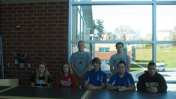 Front row, Left to right. Jenna Jacoby (York College), Alexis Cable (Mansfield University), Dalton Hoiles (Shippensburg University), Nick Spangler (Shippensburg University), Mike Hartman (Millersville University). Back row, Left to right. Dakota Laughman (University of Pitt. Johnstown) Zack Clingan (Millersville University).