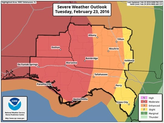 Severe storms are expected to sweep across North Florida overnight.