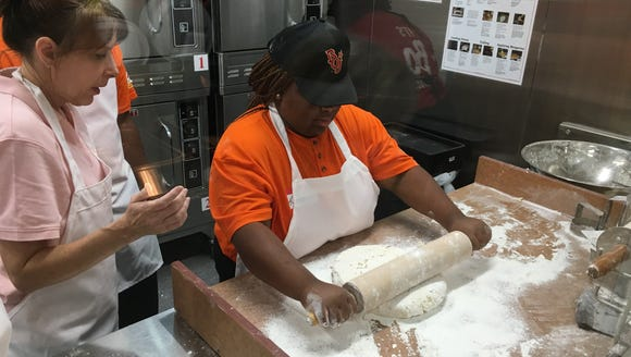Employees train Wednesday at Bojangles in east Montgomery.