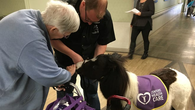 Lois Robinson, a resident at Deptford Center, pets Duncan, a therapy mini horse owned by Shawn Emmons, a Robbinsville police officer.