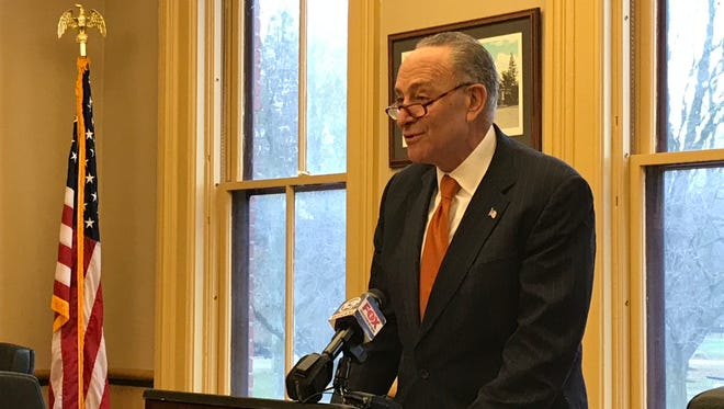 Sen. Chuck Schumer discusses his plan for increased federal investment in high-speed internet infrastructure in Avon, NY on November 22, 2017.
