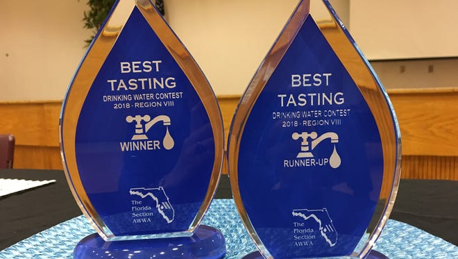 Trophies for this year's best tasting drinking water contest.