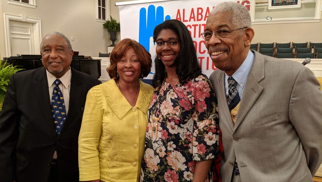 "From left to right: Bernard Lafayette, Kredelle Petway, BTW student Lydia Williams and Ernest ""Rip"" Patton. Lafayette, Petway and Patton, all Freedom Riders, spoke at the Alabama Institute for Social Justice's community learning forum on April 21, 2018."