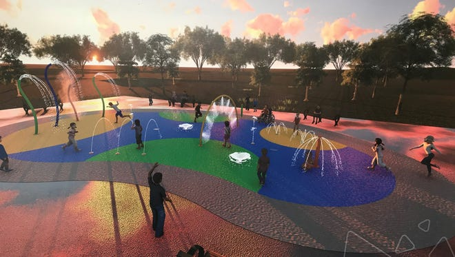 This is an artist's rendering of what the splash pad will look like once it's complete at Medina City Park. The rendering is on display at Medina City Hall.