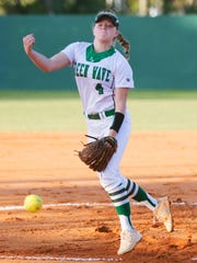 Fort Myers High School's Hannah Perkins pitches against