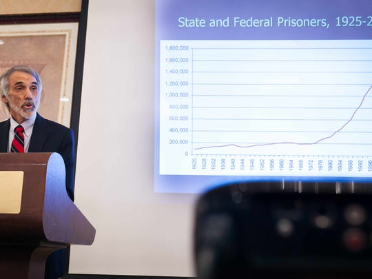 Guest speaker Mark Mauer, Executive Director of The Sentencing Project displays the increase in state and federal prisoners from 1925-2010 at the Visions of Justice 2015 conference at the Hilton Wilmington/Christiana.