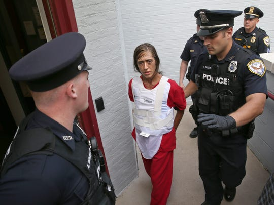 Holly Colino is arraigned in Brockport Village Court, for the murder of Megan Dix, Tuesday, Aug. 29, 2017.