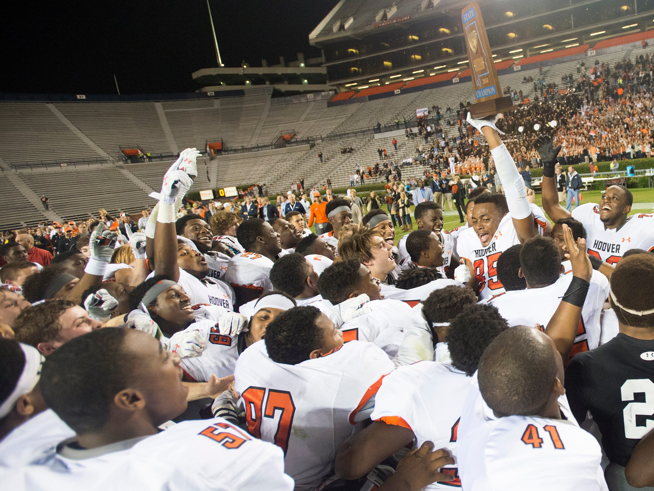 Hoover wide receiver Quincy Cox (85) celebrates the Class 7A State Championship game at Jordan-Hare Stadium on Wednesday, Dec. 3, 2014, in Auburn, Ala. Hoover defeated Prattville 35-21.