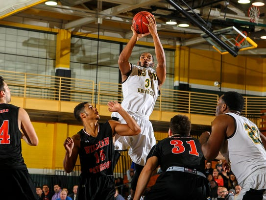 Sam Toney shoots for NJCU against William Paterson.