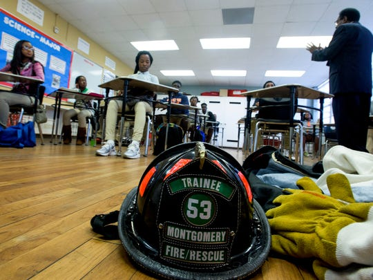 Instructor Johnny George teaches his Fire Science Class at MPACT in Montgomery, Ala. on Wednesday November 4, 2015. George's Fire Science class is the Montgomery Advertiser Classroom of the Week.