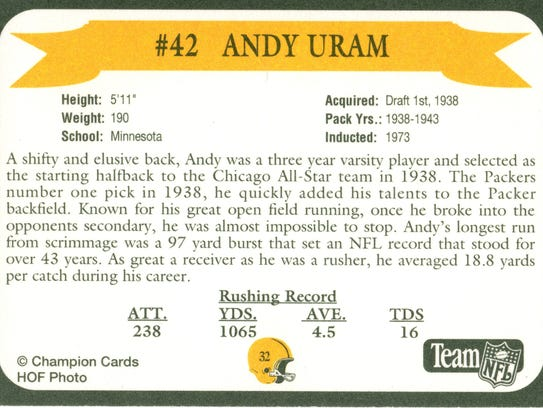 Packers Hall of Fame player Andy Uram