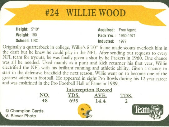 Packers Hall of Fame player Willie Wood