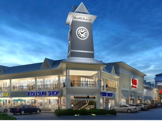 Architect's rendering of proposed revamping of Island Plaza center.