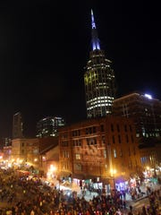 A huge crowd gathers for the Jack Daniel's Bash on Broadway in downtown Nashville on Dec. 31, 2014.