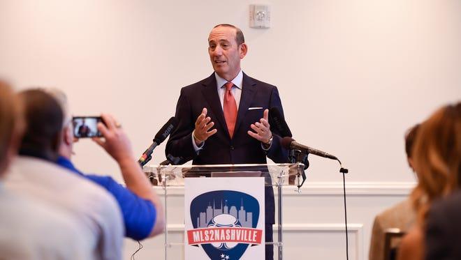Major League Soccer Commissioner Don Garber discusses Nashville's bid for a Major League Soccer team during a press conference held at Thompson Hotel Nashville on Friday, July 7, 2017.