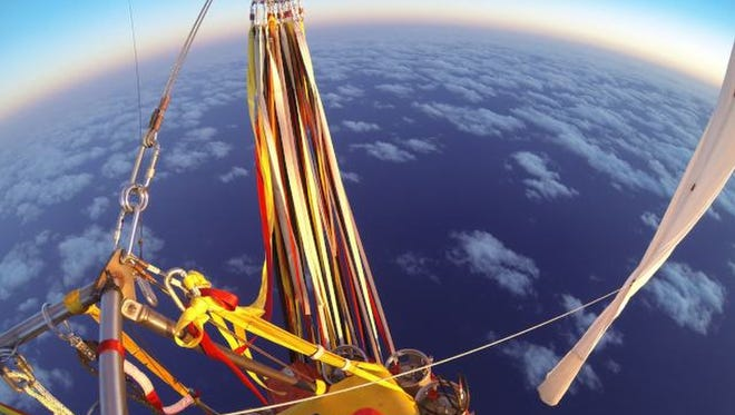 Troy Bradley of New Mexico and Leonid Tiukhtyaev of Russia set off across the Pacific Ocean from Saga, Japan, on Jan. 25, 2015, in their helium-filled Two Eagles balloon.