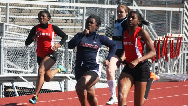 Churchill's Chanel Gardner out-strided Franklin's Bryah White in the 100-meter final.