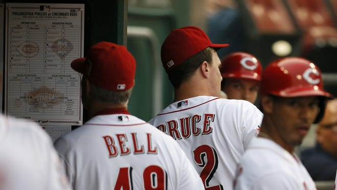 Cincinnati Reds right fielder Jay Bruce (32) gives one last look up to umpire Adam Hamari (78) after being ejected from the game following a strikeout during the bottom of the third inning.
