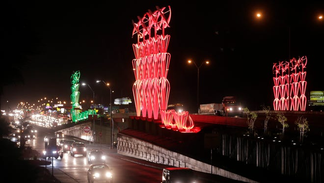 """The lighted """"Airway"""" sculpture along Interstate 10 East and West and Airway Boulevard are seen in this undated file photo."""