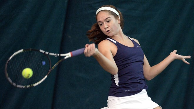 Mercy's Julia Andreach competes during the Section V State Qualifier played at the Mendon Racquet & Pool Club on Oct. 24, 2015.