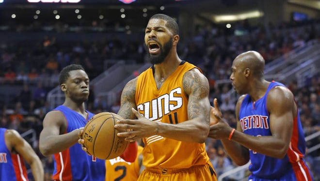 Phoenix Suns forward Markieff Morris (11) argues a call against the Detroit Pistons late in their NBA game Friday Nov. 6, 2015 in Phoenix, Ariz. The Pistons won 100-92.
