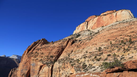 The end of the Canyon Overlook Trail in Zion National Park offers expansive views of cliffs and canyons.
