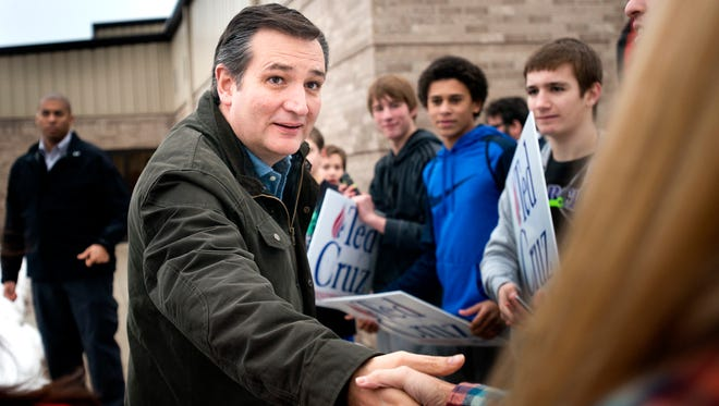 Ted Cruz greets people outside his campaign event in Ida Grove, Iowa, on Jan. 30.