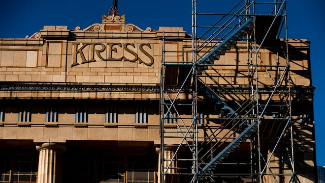 Construction continues on the Kress building in downtown Montgomery.