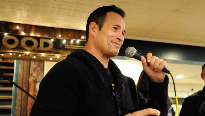 Sam Calagione speaks at the Dogfish Head unveiling of its beer for breakfast, a brew flavored with scrapple. Calagione has been once again recognized by the James Beard Foundation as one of the country's most influential brewers.