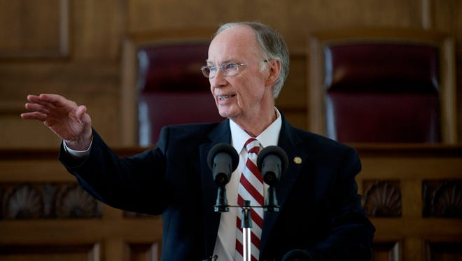 Governor Robert Bentley discusses the budget impact to Alabama Medicaid Agency at the State Capitol Building in Montgomery, Ala. on Wednesday April 6, 2016.