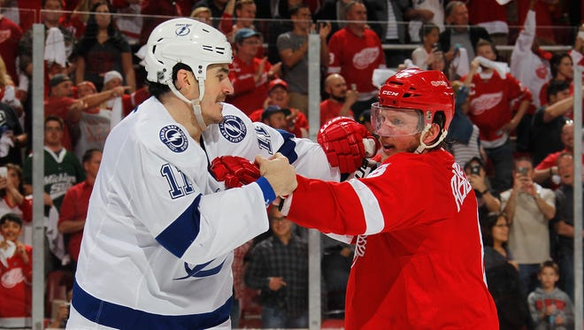 Brian Boyle tries to goad Justin Abdelkader into a fight at the end of Game 3.